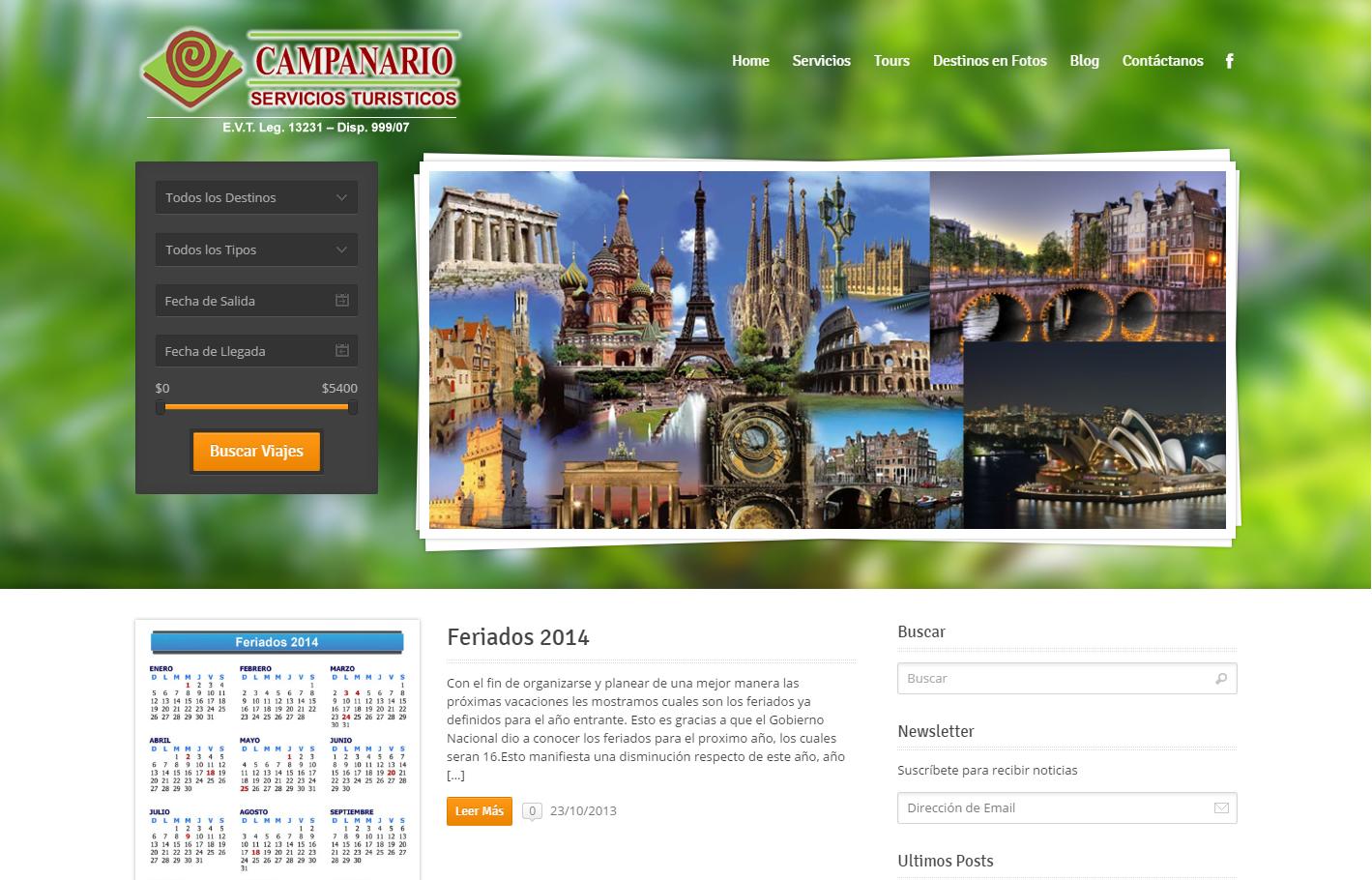 Dise o pagina web agencia turismo for Paginas web sobre turismo