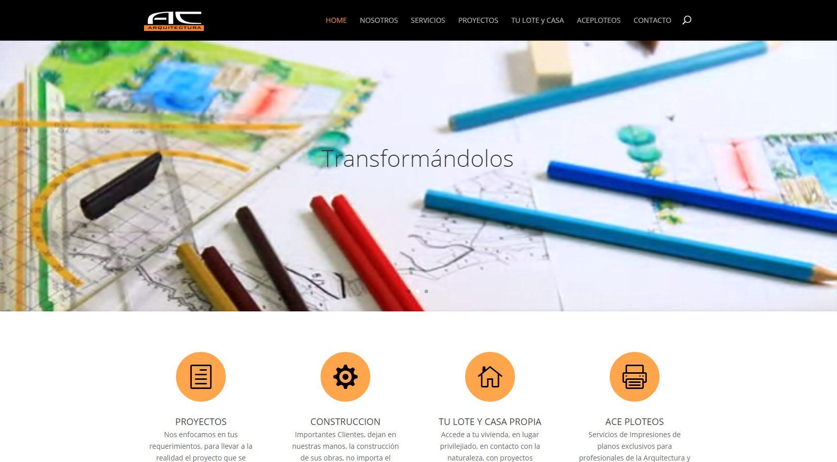Sitio web estudio arquitectura acarquitecto aloclick for Arquitectura pagina web